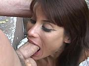 Latina gets jizz in face and eyes